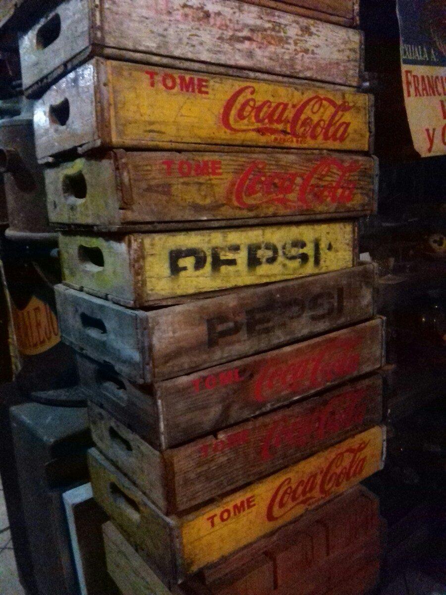 cajas de madera antiguas de refrescos